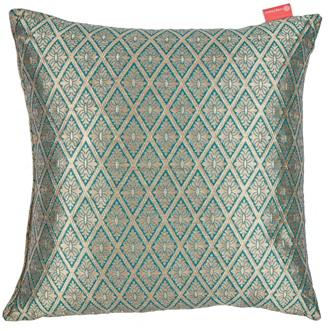 Filled Cushion Miraya Teal Beige Brocade Cushion Fillers in Brocade Colour by Living Essence