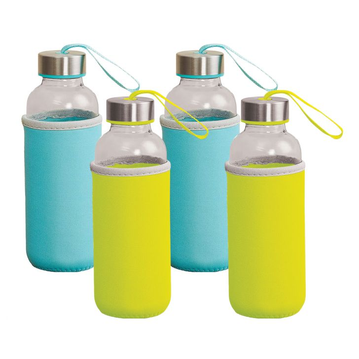 Fiesta Glass On The Go Glass Bottles With Sleeves 300 Ml Set Of 4 in Green & Blue Colour