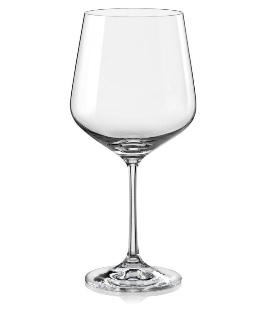 Bohemia Crystal Sandra Wine Glass (570 ml) set of 6 pcs Bar Glassware in Transparent Colour by Bohemia