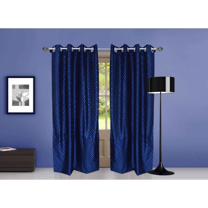 Flock Printed Polyester Door Curtain in Blue Colour by Dreamline