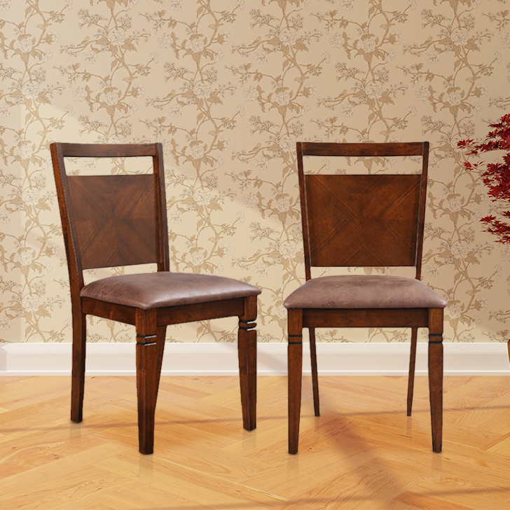 Maverick Solid Wood Dining Chair Set of Two in Antique Cherry Colour by HomeTown