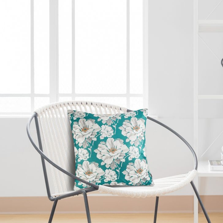 Flower Velvet Cushion Covers in Teal Colour by Living Essence