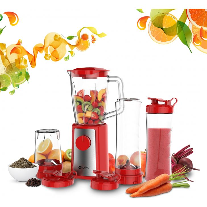 Personal Blender with 4 Jars For Milkshakes & Smoothies - Red by Koryo