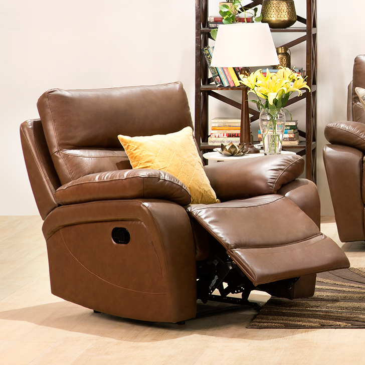 Lopez Half Leather Single Seater Recliner in Brown Colour by HomeTown