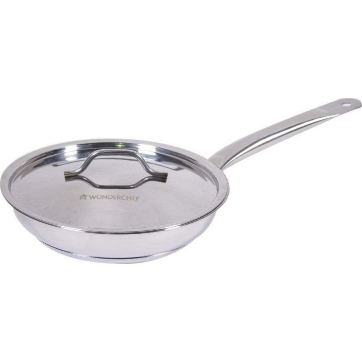 Stanton Stainless steel Frying Pan with SS Lid 24cm 1.2Ltr 0.6mm in Silver Colour