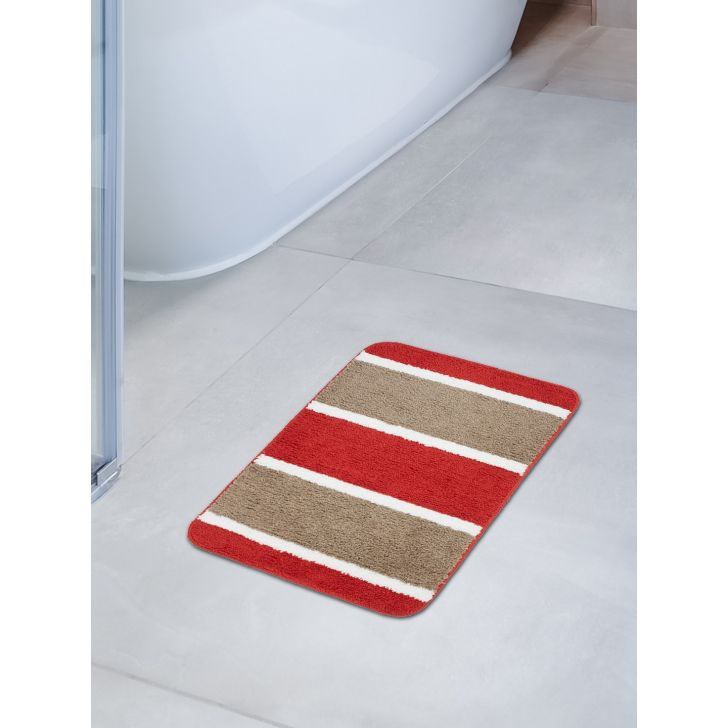 Emilia Set of 2 Polyester Bath Mats in Rust Beige Colour by Living Essence