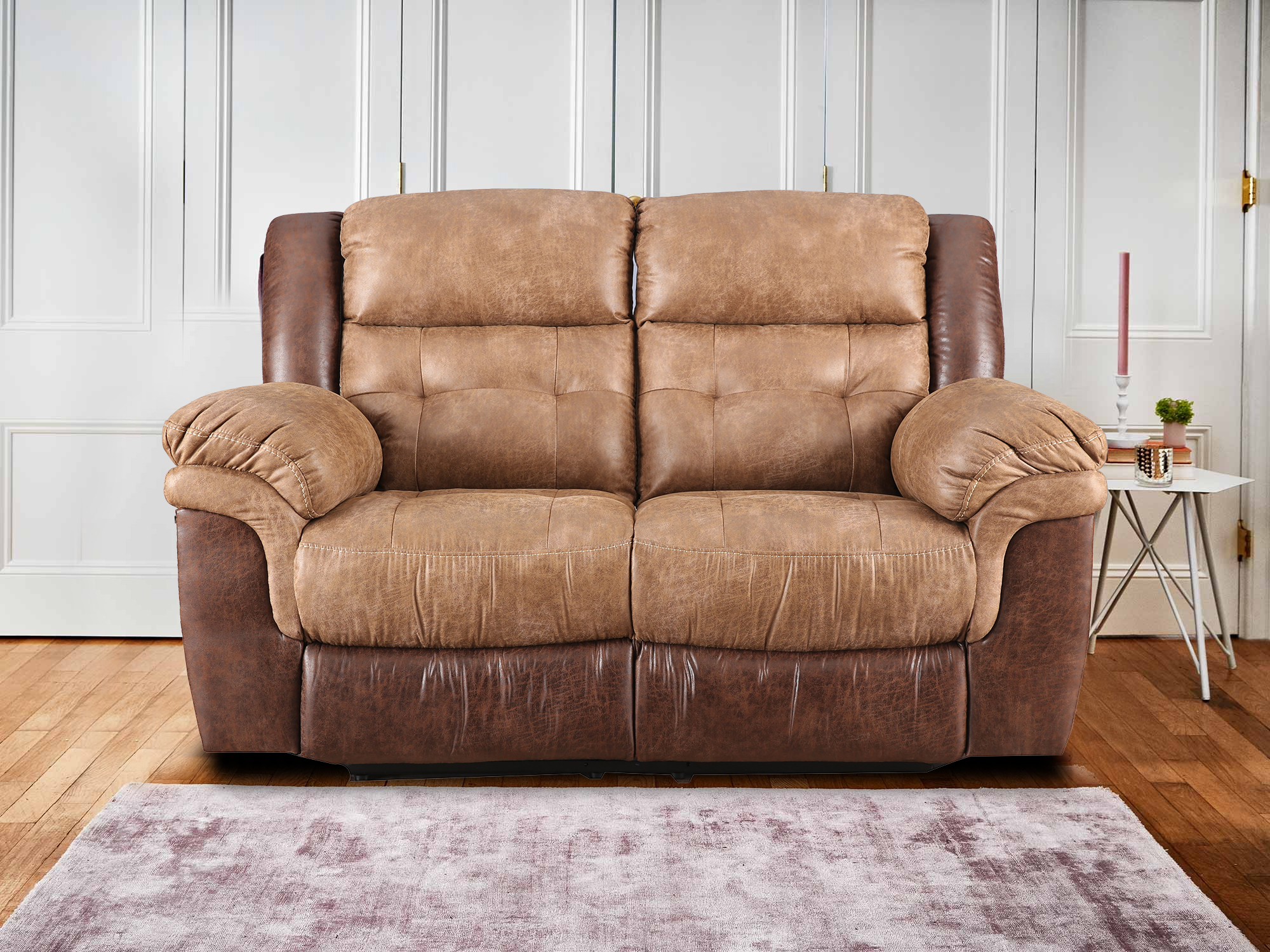 Eclairs Leather Two Seater Recliner in Brown Colour by HomeTown