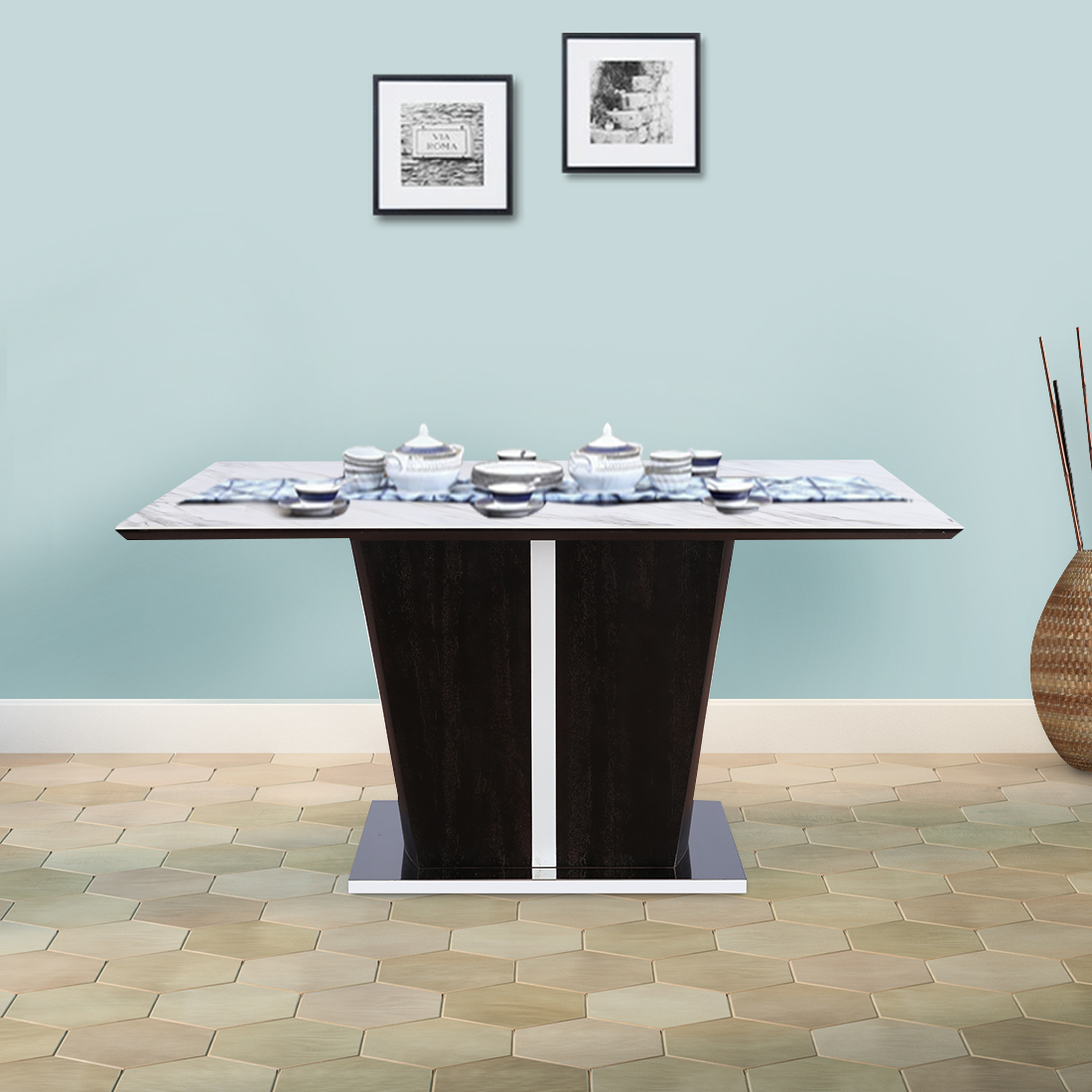 Sanchez Solid Wood Marble Top Six Seater Dining Table in White Colour by HomeTown