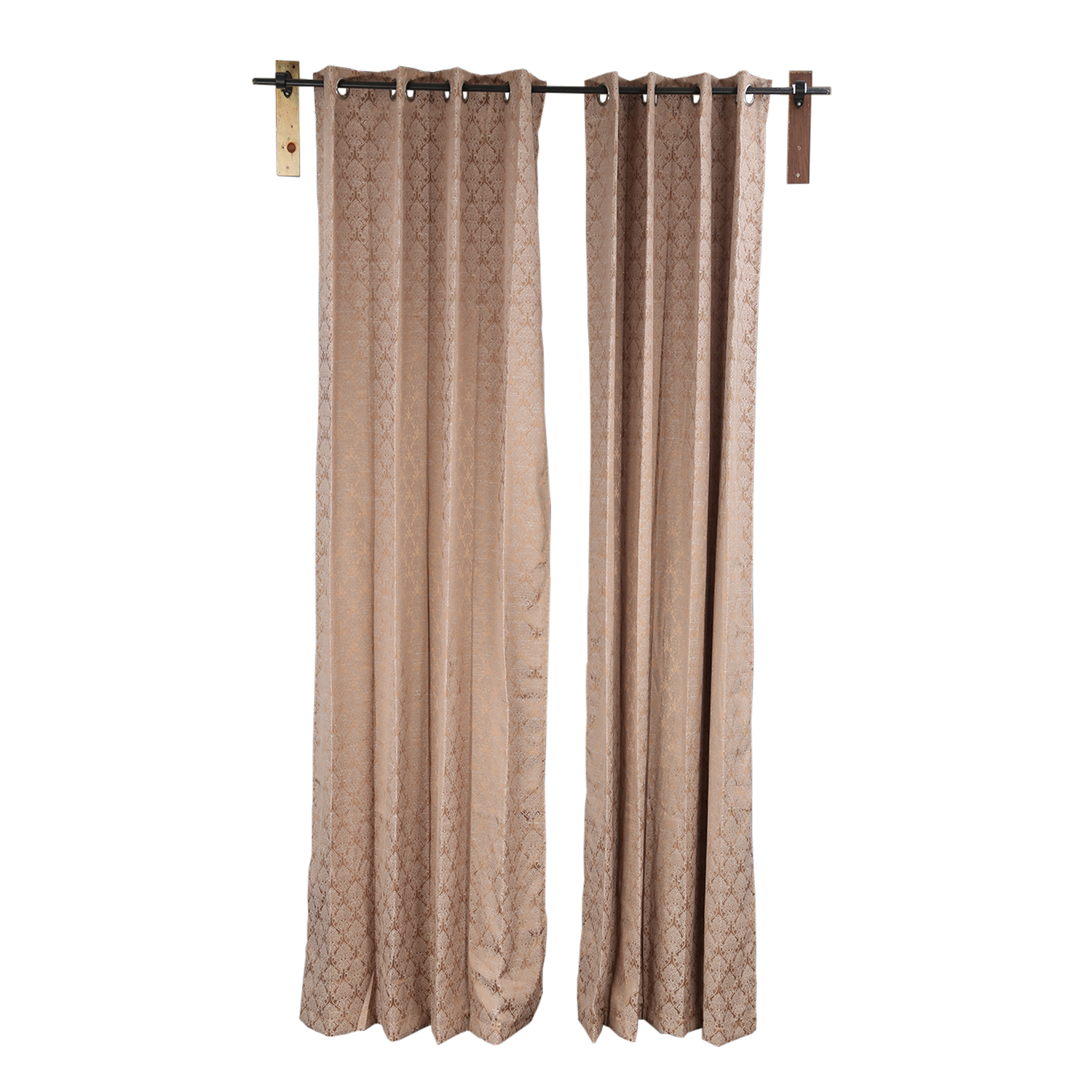 Aspen Polyester Window Curtains in Brown Colour by Living Essence