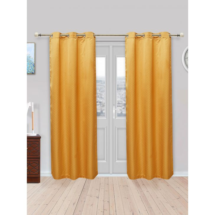 Fiesta Set of 2 Polyester Door Curtains in Mustard Colour by Living Essence