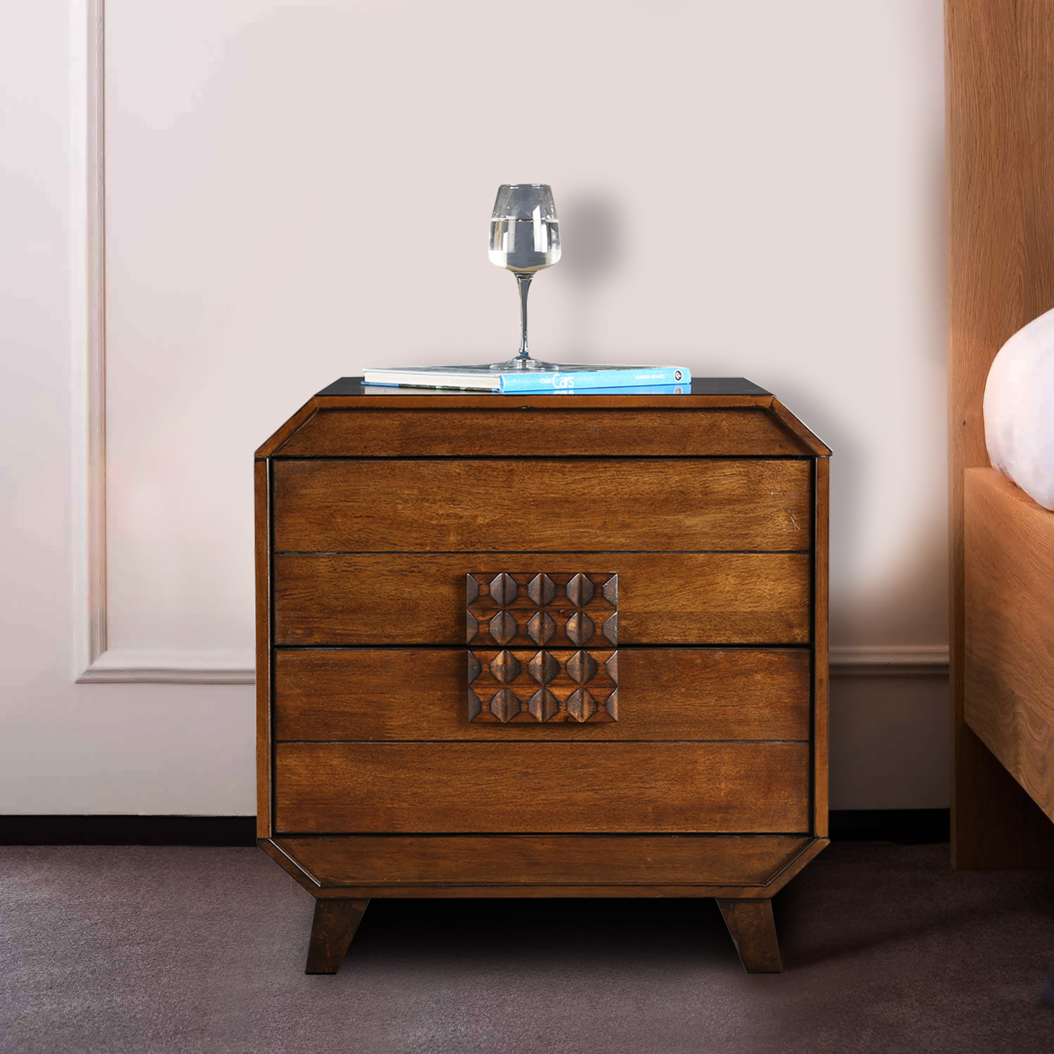 Sterling Solid Wood Bedside Table in Walnut Colour by HomeTown