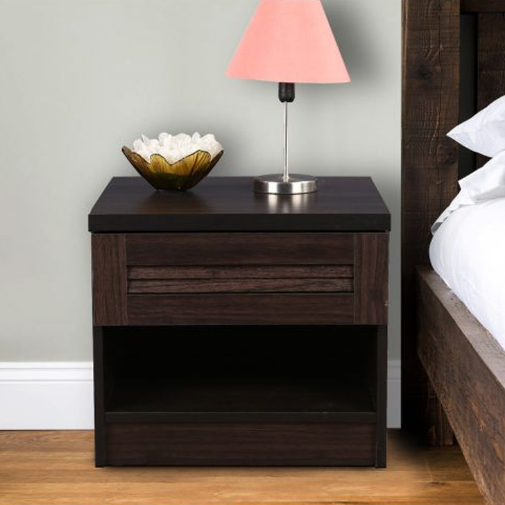 Bolton Engineered Wood Bedside Table in Wenge Colour by HomeTown