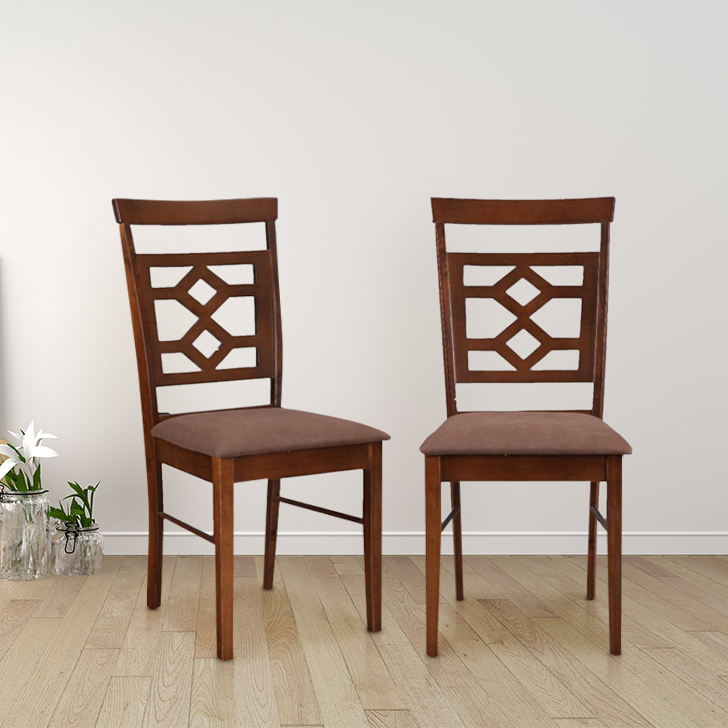 Eva Solid Wood Dining Chair Set of Two in Dark Brown Colour by HomeTown