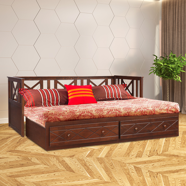 Victoria Solid Wood King Size Bed With Trundle in Antique Cherry Colour by HomeTown