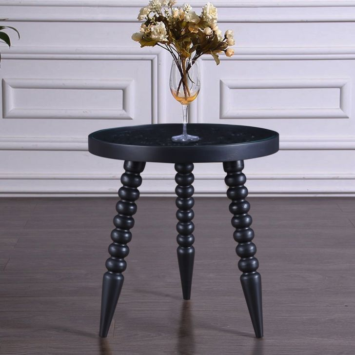 Antico Solid Wood Curved Stool in Black Colour by HomeTown