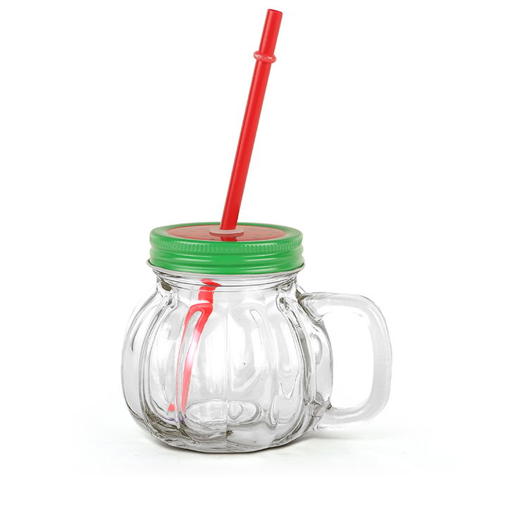 Melon With Straw Watermelon Lid Drinking Jar 370 ml Glass Mason Jars in Transparent Colour by Living Essence