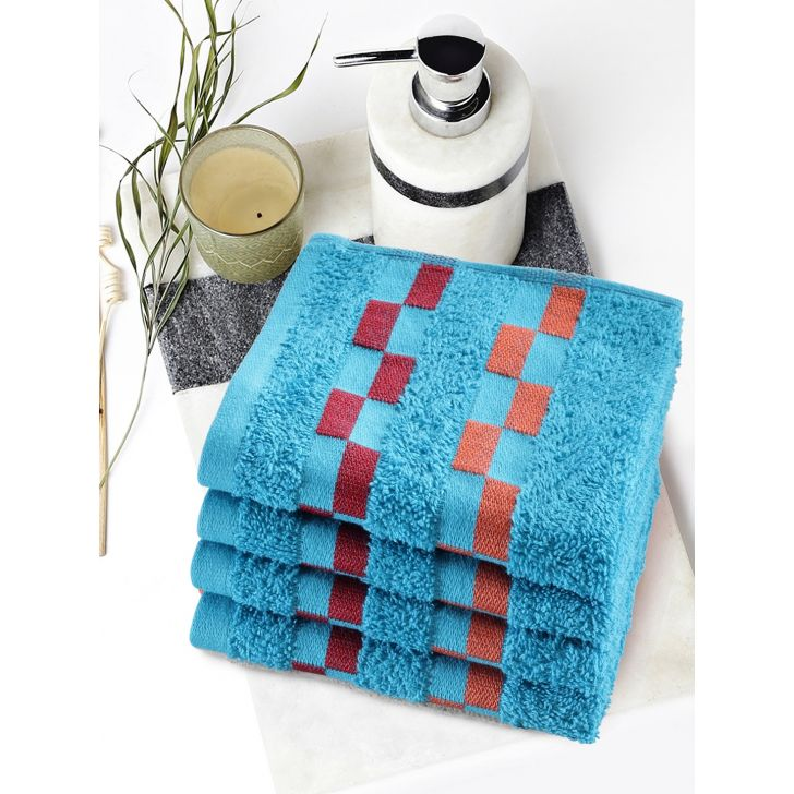 Sonoma Cotton Set Of 4 Face Towel 30X30 Cm in Teal Colour