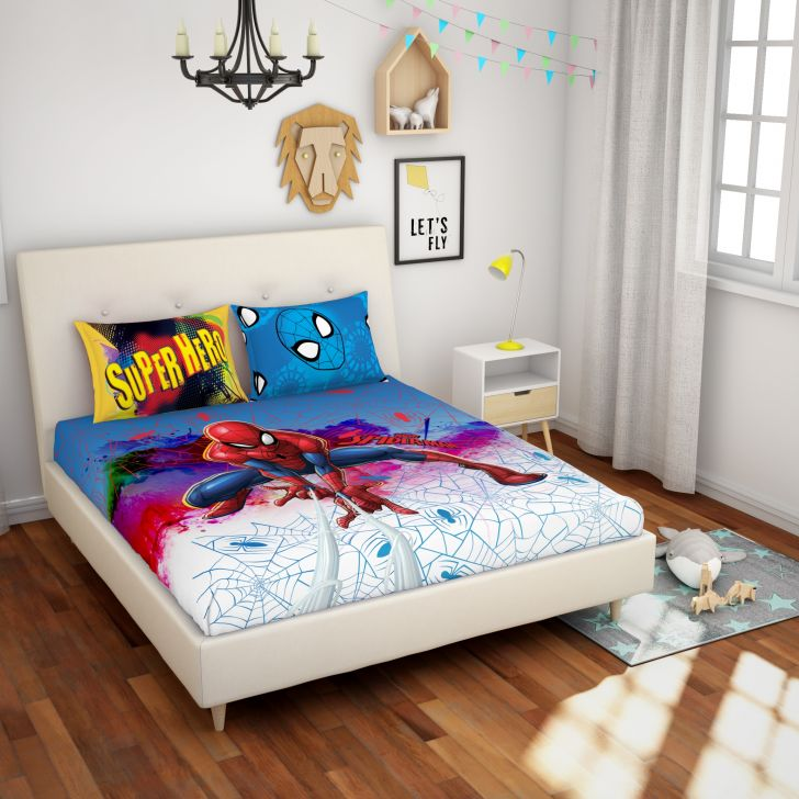 Spaces Marvel Spiderman Red Double Bedsheet With 2 Pillow Covers