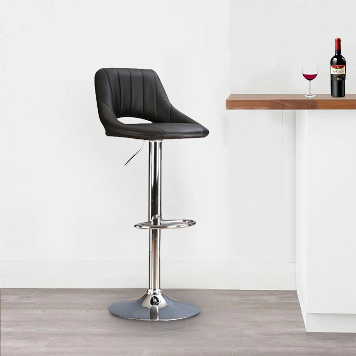 Mabel Polyurethane Bar Chair and Stool in Black Colour by HomeTown