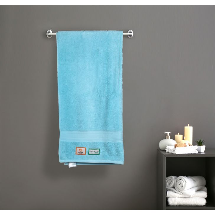 Stay Fresh Cotton Bath Towels in Blue Colour by Dreamline