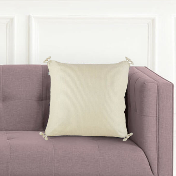 Pompom Cushion Cover Polyester Cushion Covers in White Gold Colour by Living Essence