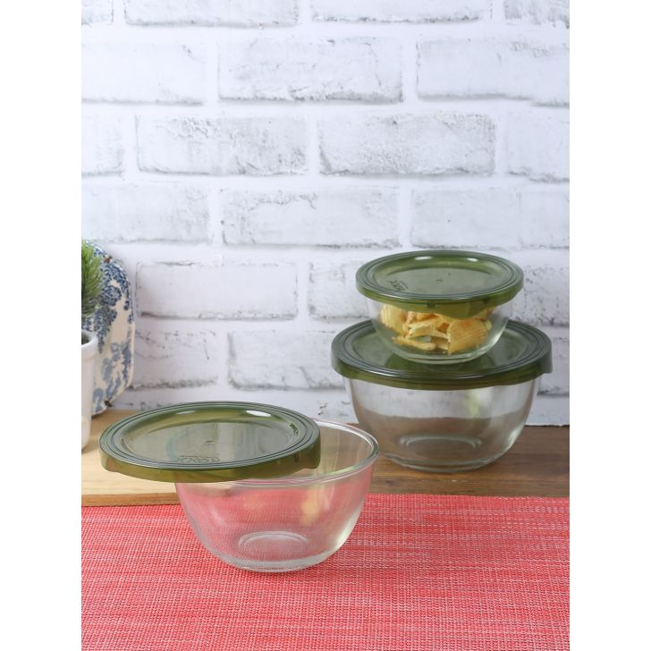 Living Essence Glass Mixing Bowl  400+700+1000 Ml in Transparent Colour by Living Essence