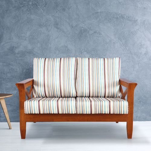 Aldrich Solid Wood Two Seater Sofa With Cushions In Stripes Colour By Hometown
