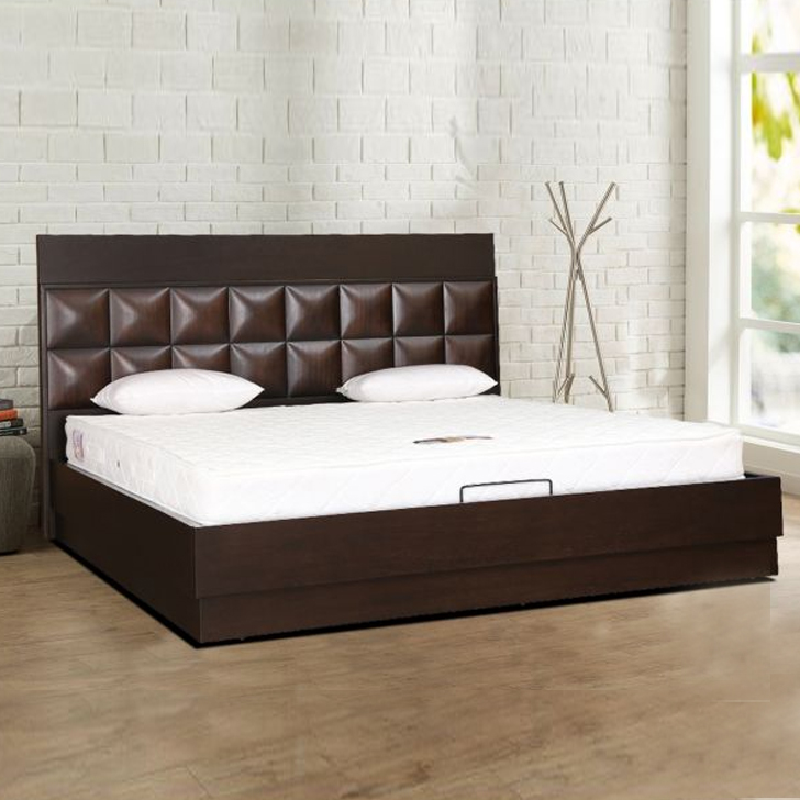 Empire Engineered Wood Hydraulic Storage Queen Size Bed in Wenge Colour by HomeTown