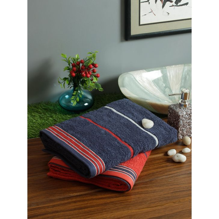Set of 2 Emilia Cotton Bath Towels in Navy Rust Colour by Living Essence