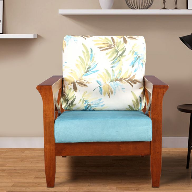 Aldrich Solid Wood Single Seater Sofa With Cushion in Printed Teal Colour by HomeTown