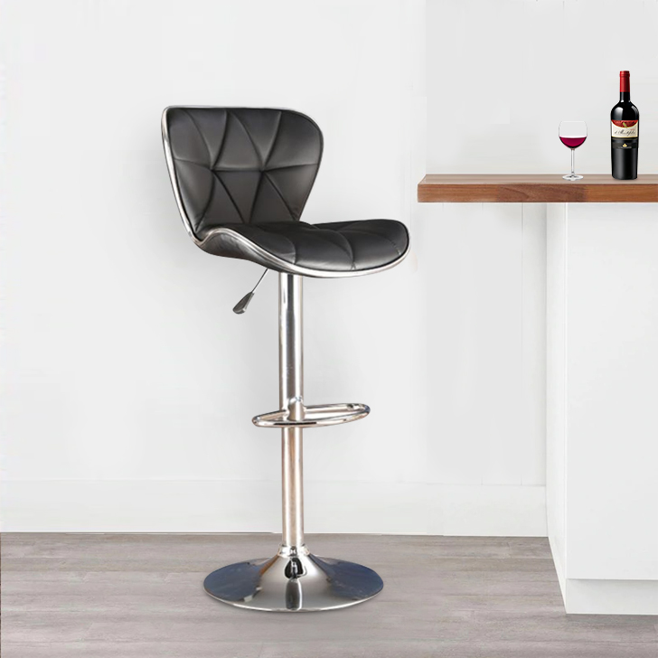 Miley Fabric Bar Chair and Stool in Black Colour by HomeTown