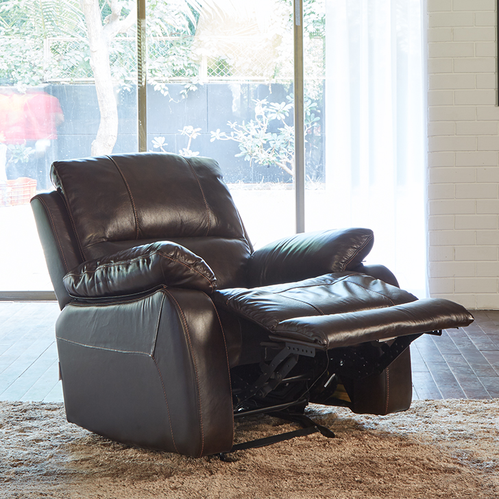 William Half Leather Single Seater Recliner in Brown Colour by HomeTown