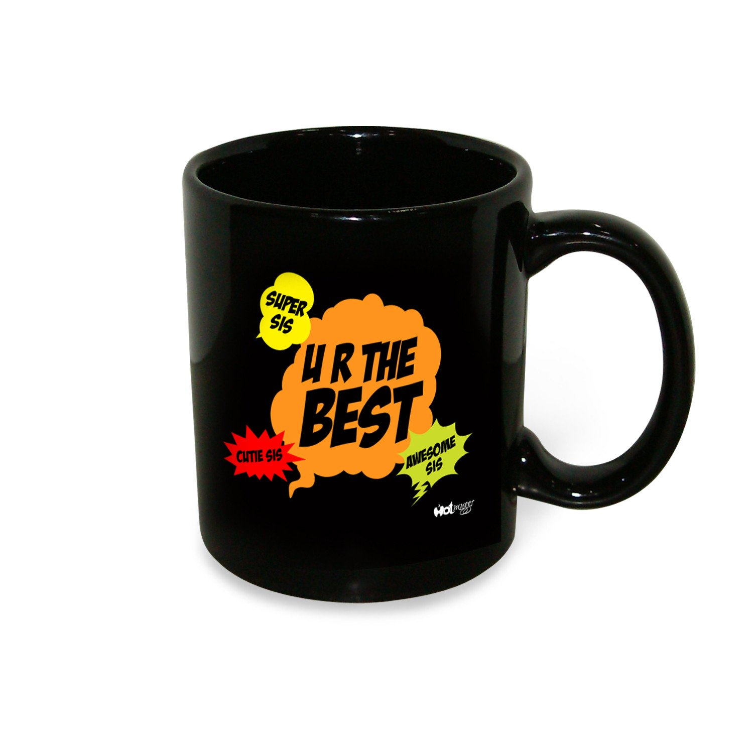 Hot Muggs Lil Sis Mug ml, 1 Pc Ceramic Coffee Mugs in Inside Black With Color Outside Colour by HotMuggs