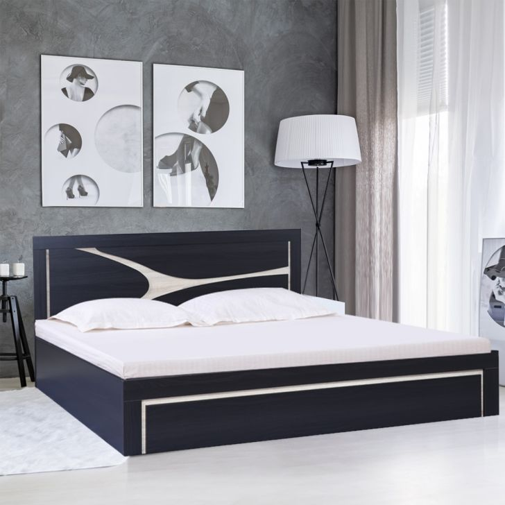 Flamingo Engineered Wood Queen Size Bed in Wenge Colour by HomeTown