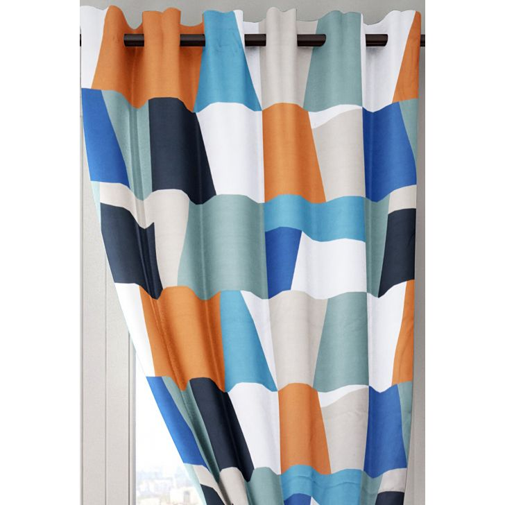 Cascade Colorful Abstract Polyester Window Curtain in Multi Colour