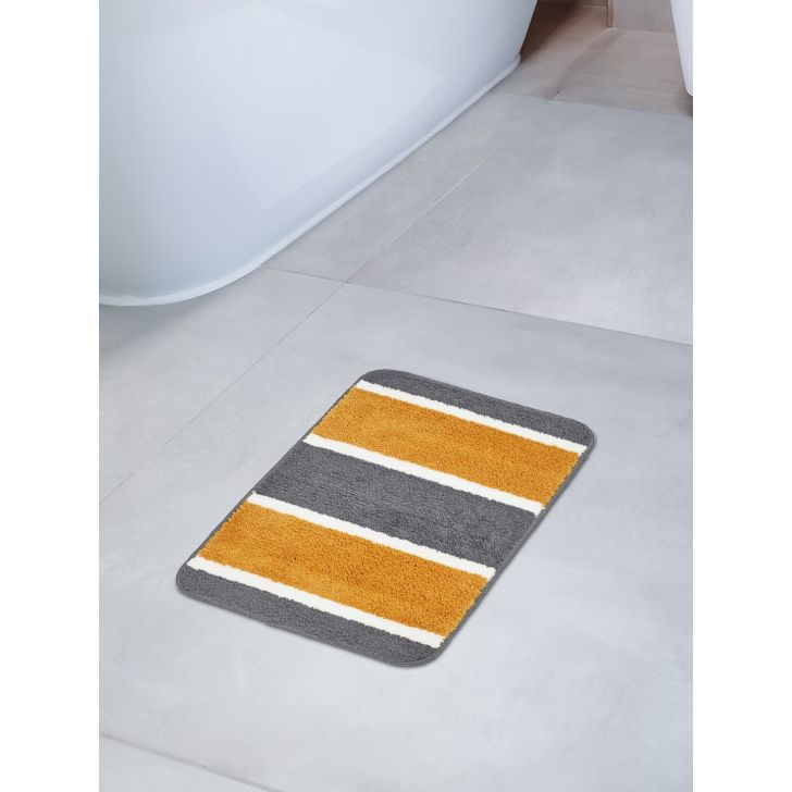 Emilia Set of 2 Polyester Bath Mats in Charcoal Mustard Colour by Living Essence