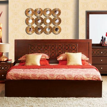 Buy Astra Solid Wood Box Storage King Size Bed In Wenge Colour By