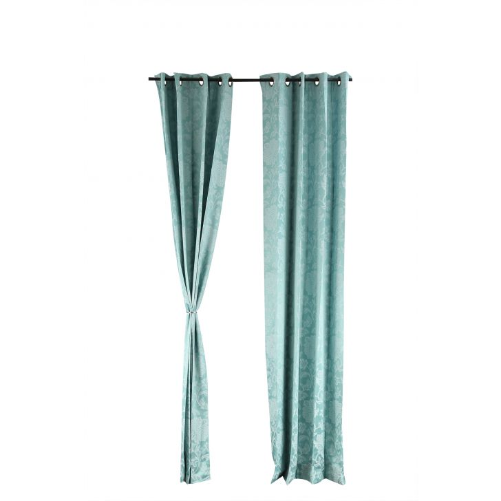 Florina Extra Large Curtain Green Polyester Door Curtains in Sea Green Colour by Living Essence