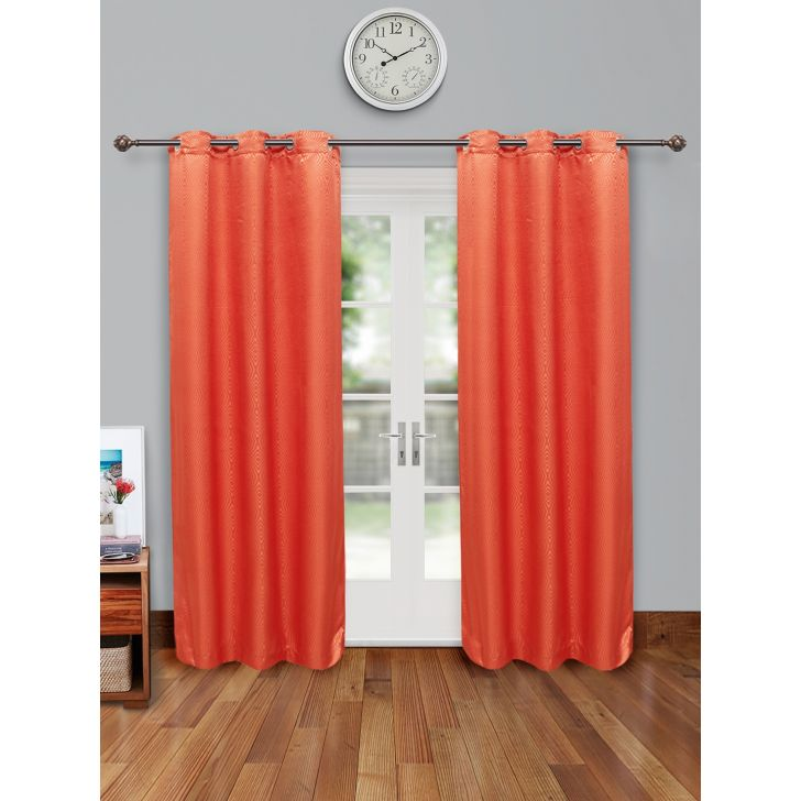 Fiesta Set of 2 Polyester Door Curtains in Rust Colour by Living Essence