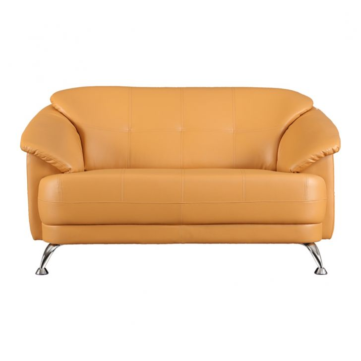 Corinth Fabric & Leatherette Two Seater sofa in Camel Colour by HomeTown