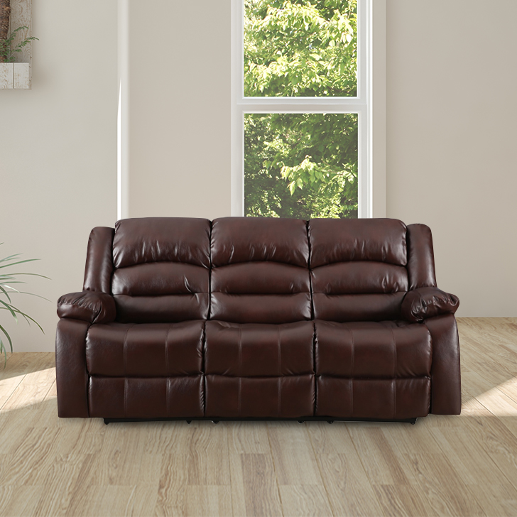 Bradford Fabric Three Seater Recliner in Brown Colour by HomeTown