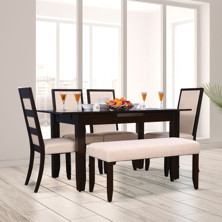Flexi Solid Wood Six Seater To Eight Seater Extension Dining Set With Bench in Cappuccino Colour by HomeTown