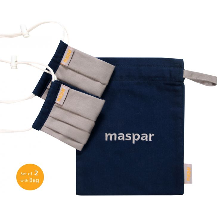 Maspar 3 Layer Grey Outdoor Cotton 5-8 Years Kids Face Masks Set of 2 with Bag