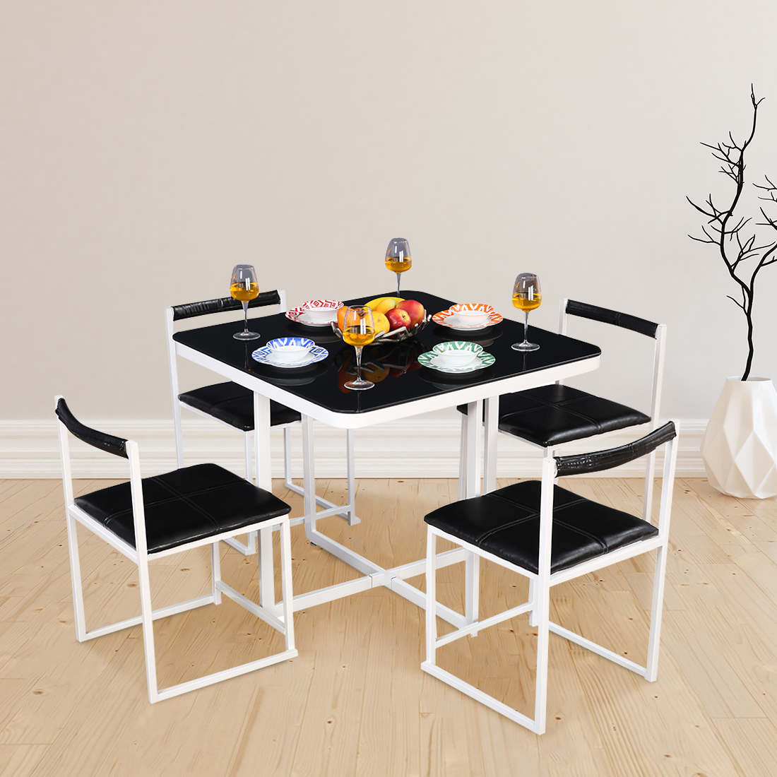 Kube Mild Steel Four Seater Dining Set in Black & White Colour by HomeTown