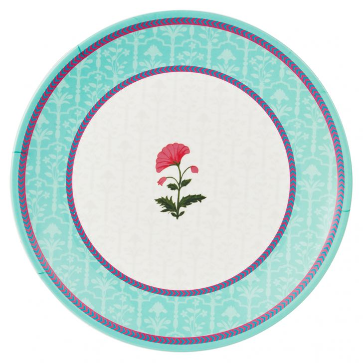 Rambagh Quater Plate Plates in Multicolour Colour by Living Essence