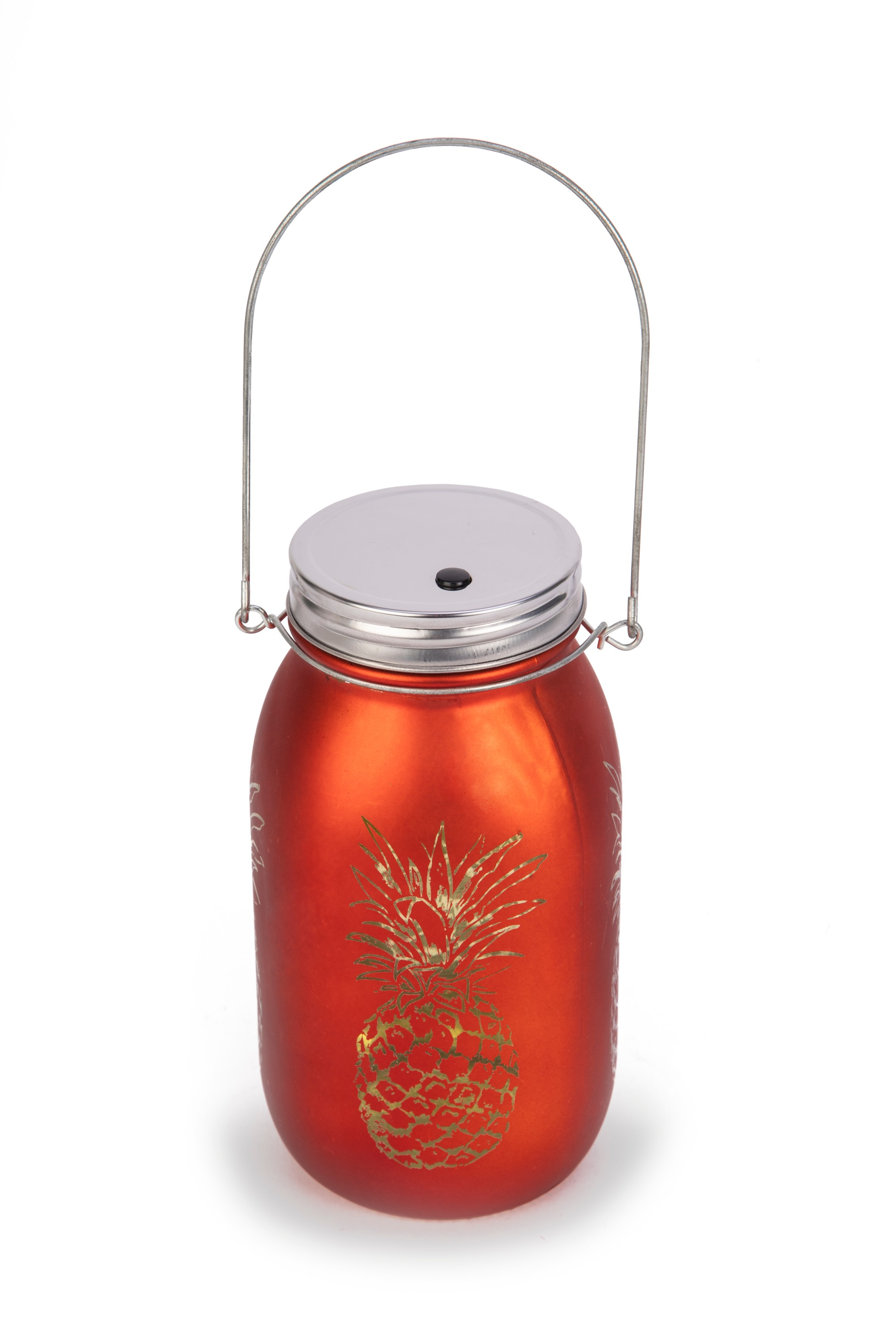 AW17 VENUS P.APPLE CUTOUT MASON JAR ORNG Glass Accent Lighting in Orange Colour by Living Essence