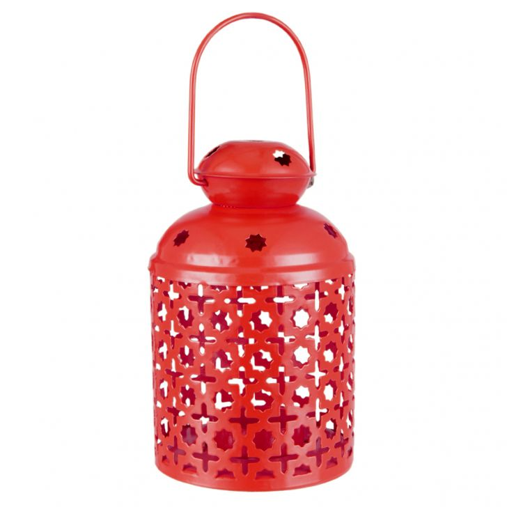 Allure Red Capsule Lantern Metal Lanterns in Red Colour by Living Essence