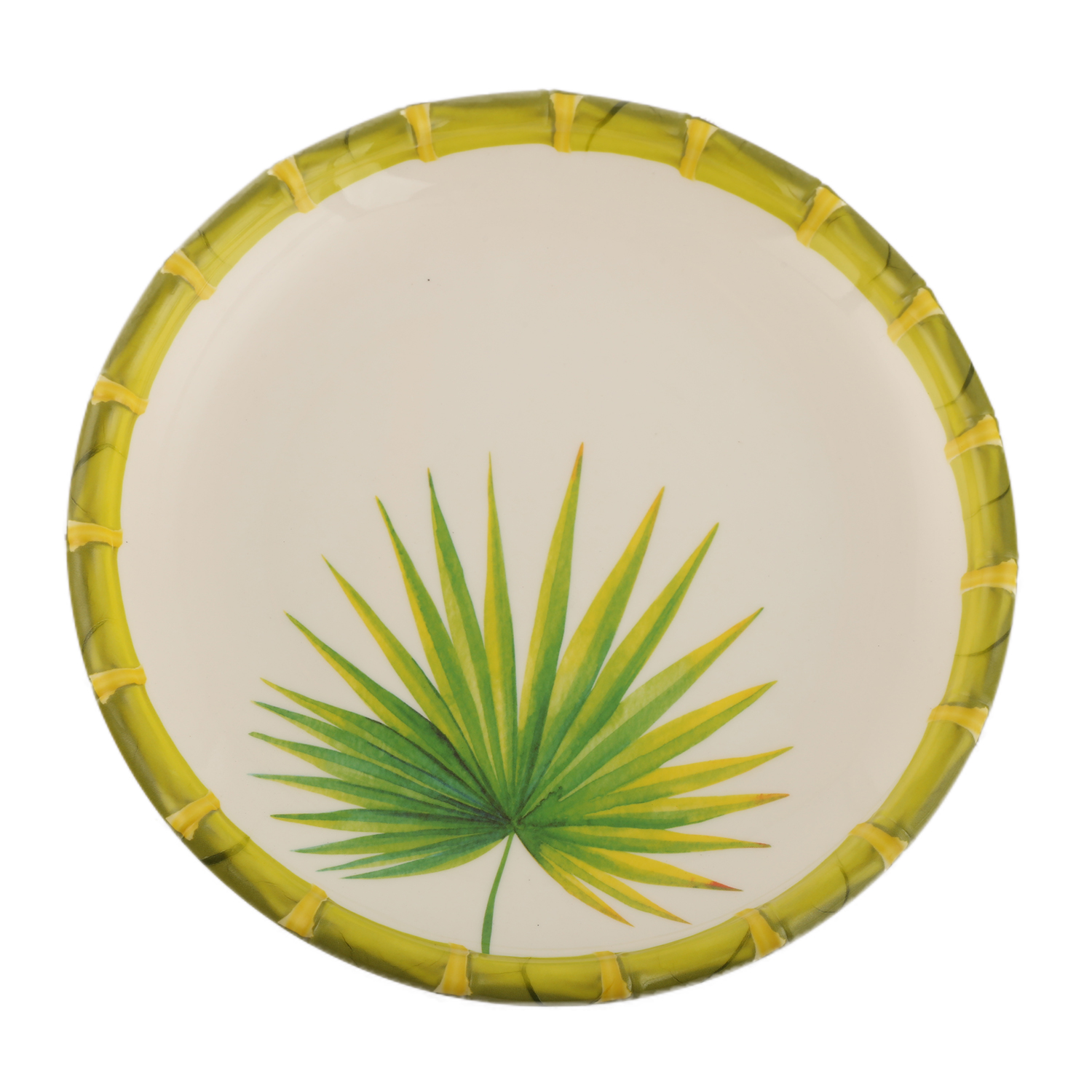 Bamboo Palm Leaf Small Plate Leaf Food Grade Melamine Plates in Green & White Colour by Living Essence