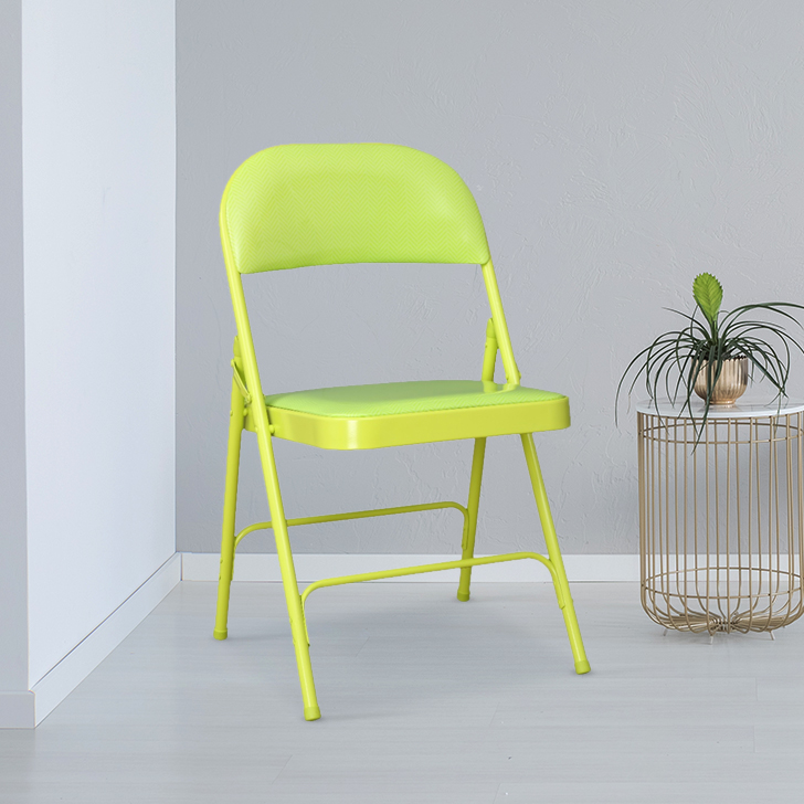 Clair Metal & Leatherette Folding Chair in Green Colour By HomeTown
