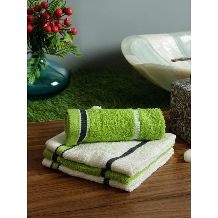 Set of 4 Emilia Cotton Face Towels in Offwhite Lime Colour by Living Essence